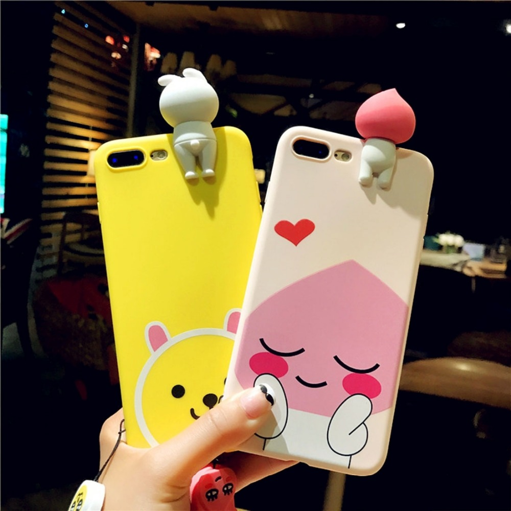Squishy Phone Case For iPhone 7 3D Cute Papa Rabbit Cartoon Squeeze Relief IMD Soft Silicone ...