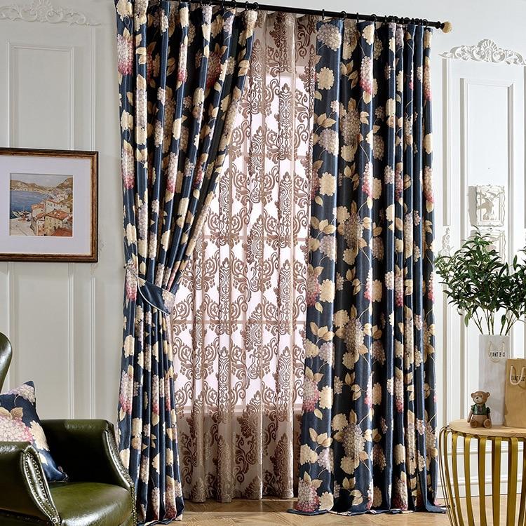 Amerika Frankrijk Landstijl Bloemen Gedrukt Donkerblauw katoen Kleur - Thuis textiel