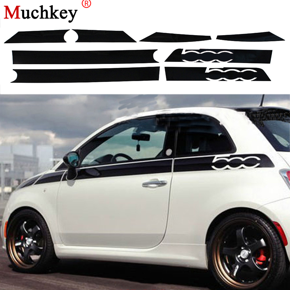 For Fiat 500 Creative Car Whole Body Sticker Decoration Car Protection Stickers Car-Styling Auto Accessories 8Pcs Per Set