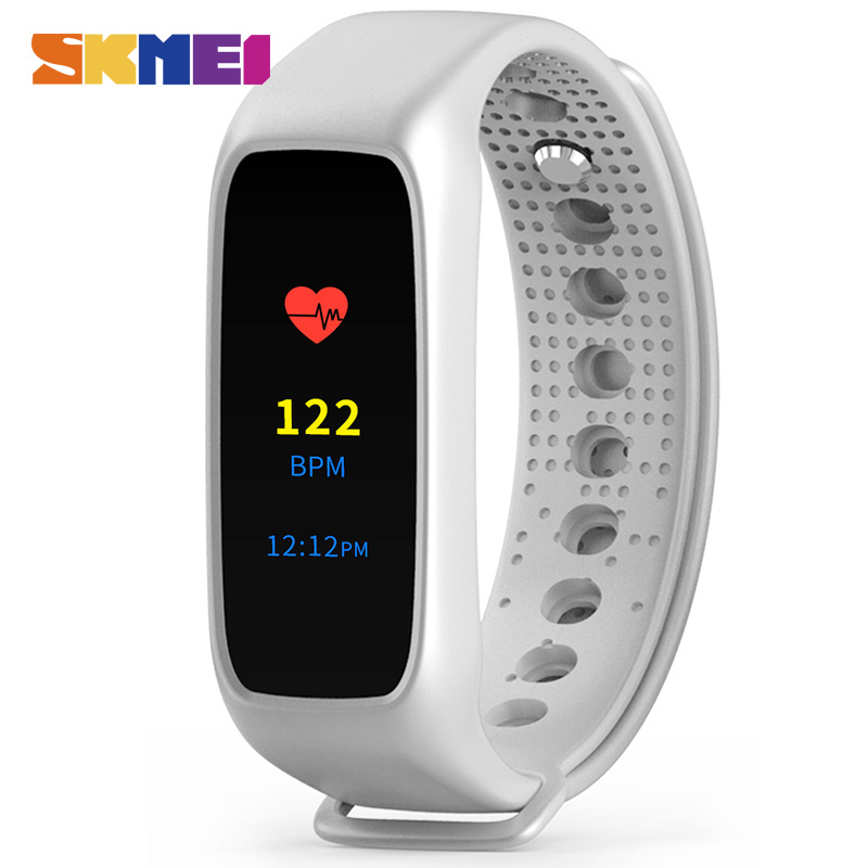 SKMEI Men Sport font b Smart b font Wristband L30T Color Screen Heart Rate Monitor LED