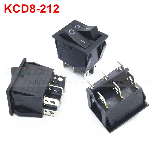 6 pin rocker switch wiring diagram riding lawn mower 10pcs lot delicate kcd8 212 25 31 mm ac 250v 15a black on off two way i o dpdt snap in mini boat