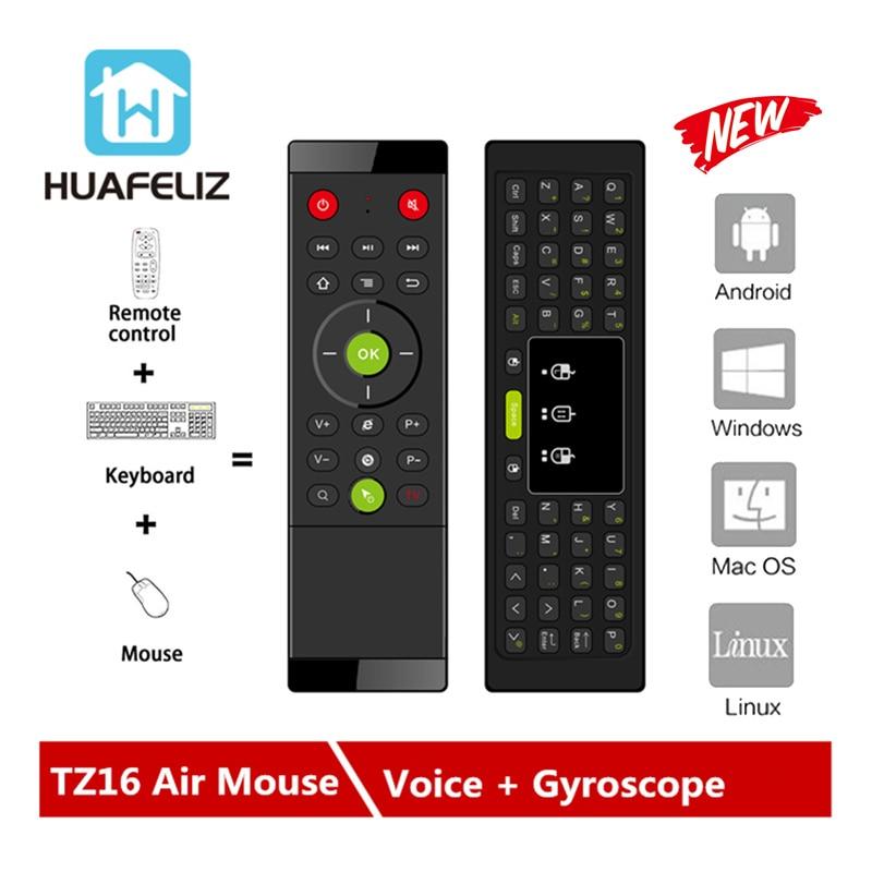 TZ16 Teclado Rato Ar 2.4G Teclado Sem Fio Gyroscope LED Backlight Handheld Touchpad Controle Remoto Para Android TV Box PC