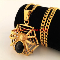 Klassieke Zwarte Steen Rvs Curb Cubaanse Link Chain 24