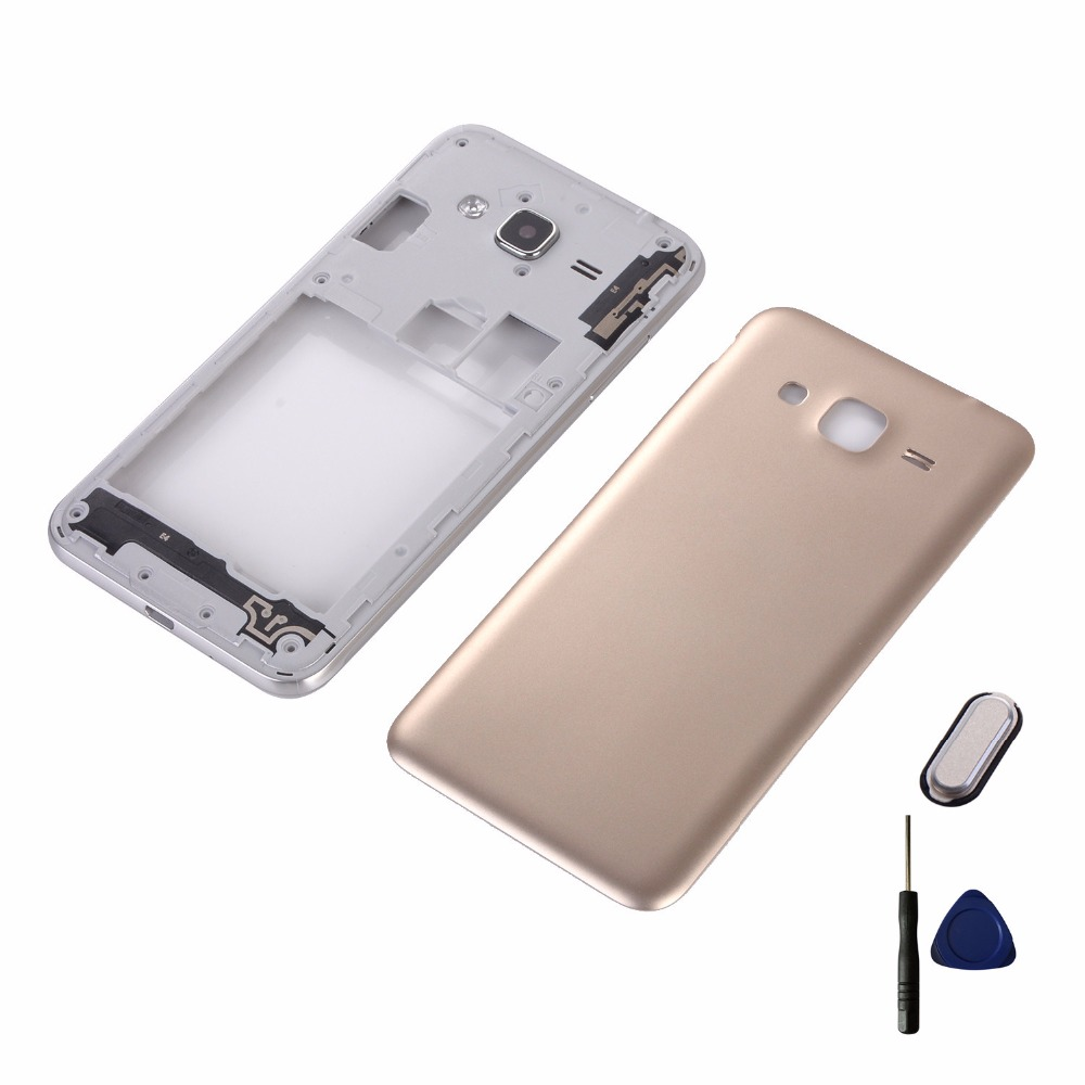 For Samsung Galaxy J3 2016 J320H J320F J320FD Housing Middle Frame+Battery Back Cover+Home Button Return Key Keypad+Tools