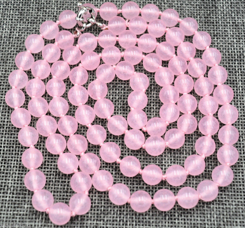 natural 8mm pink gem beads jewerly Necklace 48  AAA
