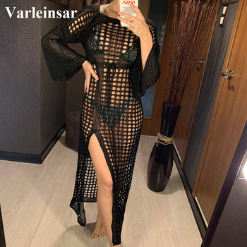 2020 Crochet Tunic Beach Dress Cover-ups Summer Women Beachwear Sexy Hollow Out Knitted Swimsuit Cover Up Beach Long Dress V1322