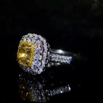 Royal jewelry supplier wholesale classic luxury 18k white gold real natural yellow diamond ring for women wedding engagement 2