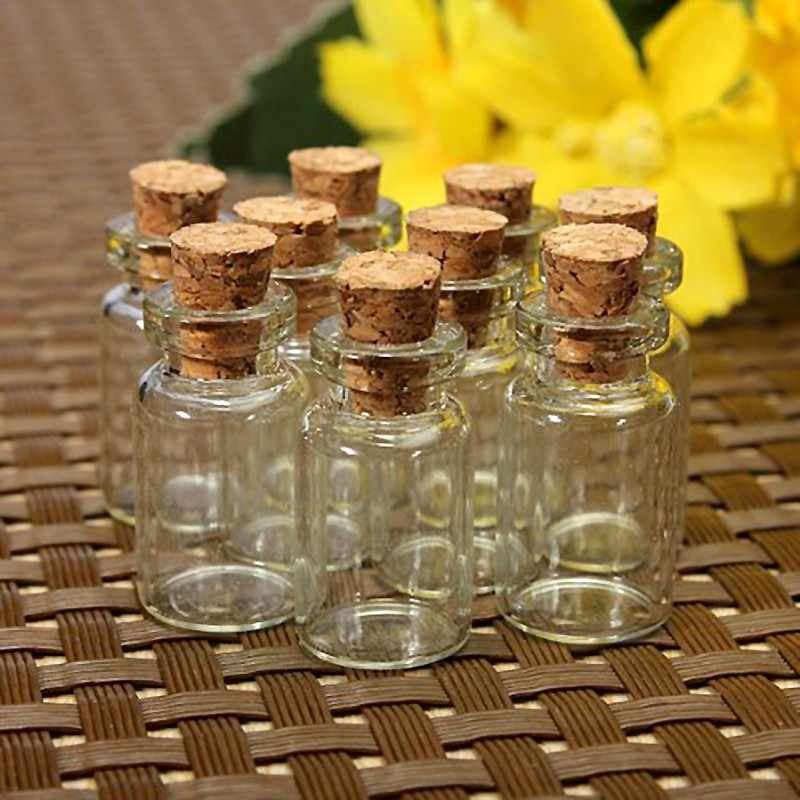 10pcs Mini Small Glass Bottles with Clear Cork Stopper Tiny Vials Jars Containers 24x12mm Message Wedding Jewelry Favor
