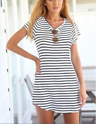 5984ac6254de New arrival 2015 Summer women dresses black and white striped casual dress  short sleeve sexy XL beach dress resort wear vestidos