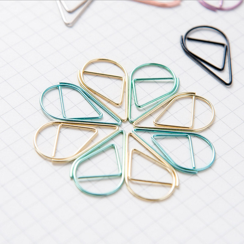 50pcs/lot Mini Kawaii Pink Gold Silver Metal Bookmarks Creative Water Drop Paper Clips School Office Supplies Cute Stationery стоимость