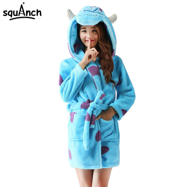 Animals Cartoon Bath Robe Women Girl Winter Sleepwear Panda Stitch ...