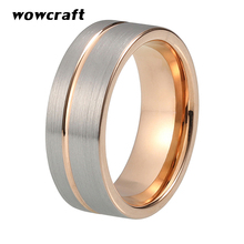 8mm Rose Gold Tungsten Carbide Ring for Men Women Wedding Band Rings Grooved Pip Cut Silver Matte Surface Comfort Fit eejart tungsten ring fashion black and rose gold wedding ring sport ring band 8mm tungsten carbide rings for men jewelry