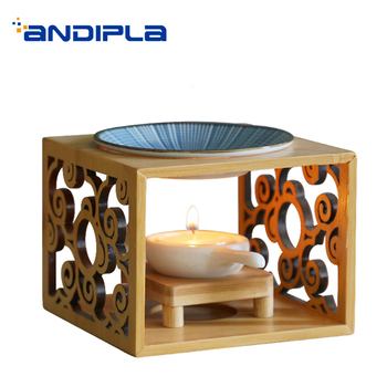 Creative Incense Burner Openwork Bamboo Wooden Shelf with Ceramic Plate Aroma Burner Powder for SPA Essential Oil Fragrant Stove