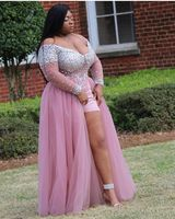 Плюс размер африканская темнокожая Девушка длинное платье для выпускного вечера с v образным вырезом с крупным бисером See Through Top с длинным р