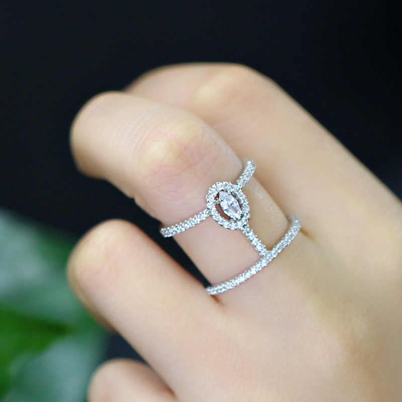 CWWZircons Adjustable Size Fashion Brand Jewelry Micro Pave Cubic Zirconia Stones Silver Color Big Open Rings For Women R065 2