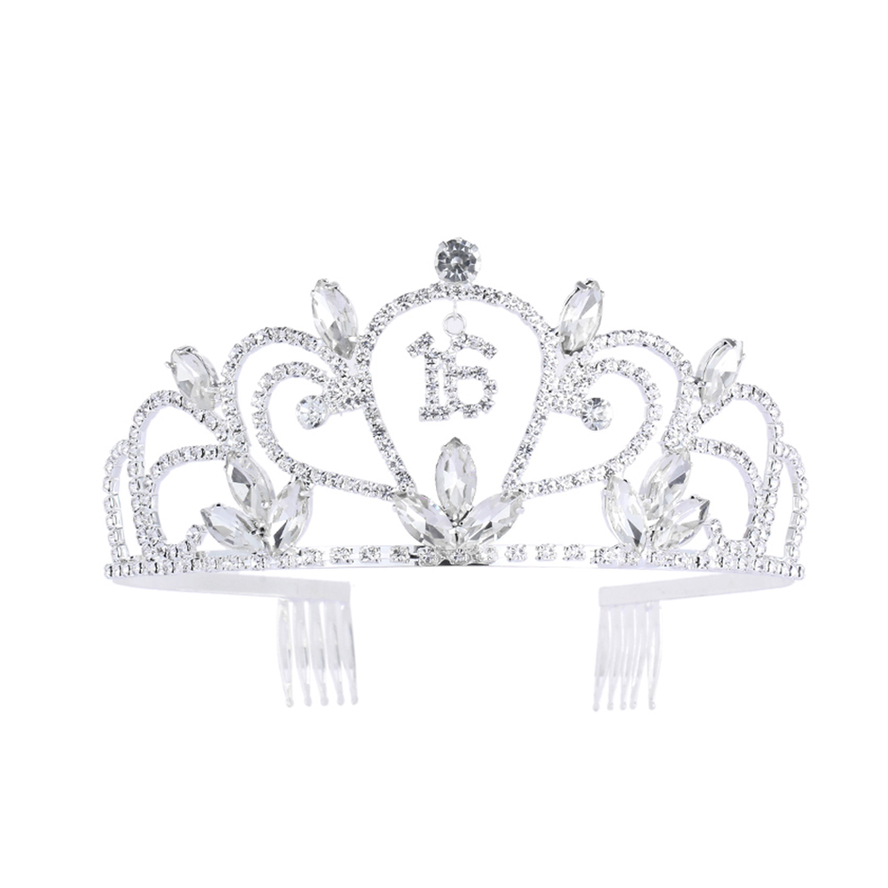 Sweet 16 Birthday Tiara Rhinestone Crystal Crown for 16th Birthday Gift  Party Accessories e06608574e51