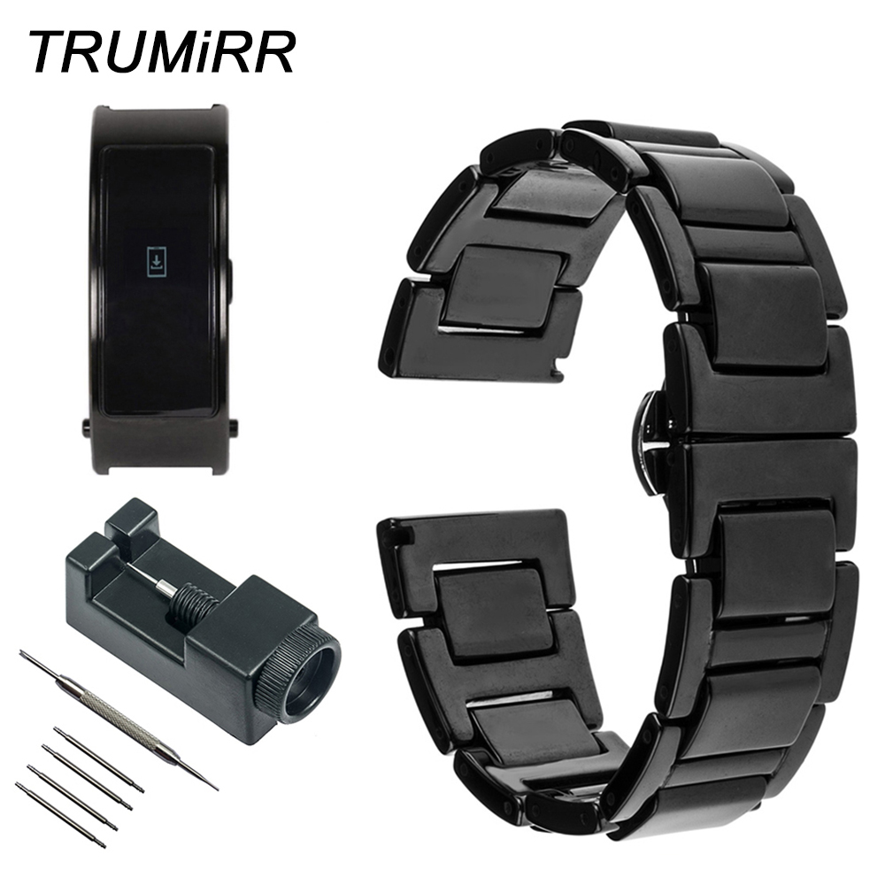 16mm Full Ceramic Watchband +Tool for Huawei Talk Band B3 Moto 360 2 42mm Women Watch Strap Butterfly Buckle Belt Wrist Bracelet 16mm ceramic