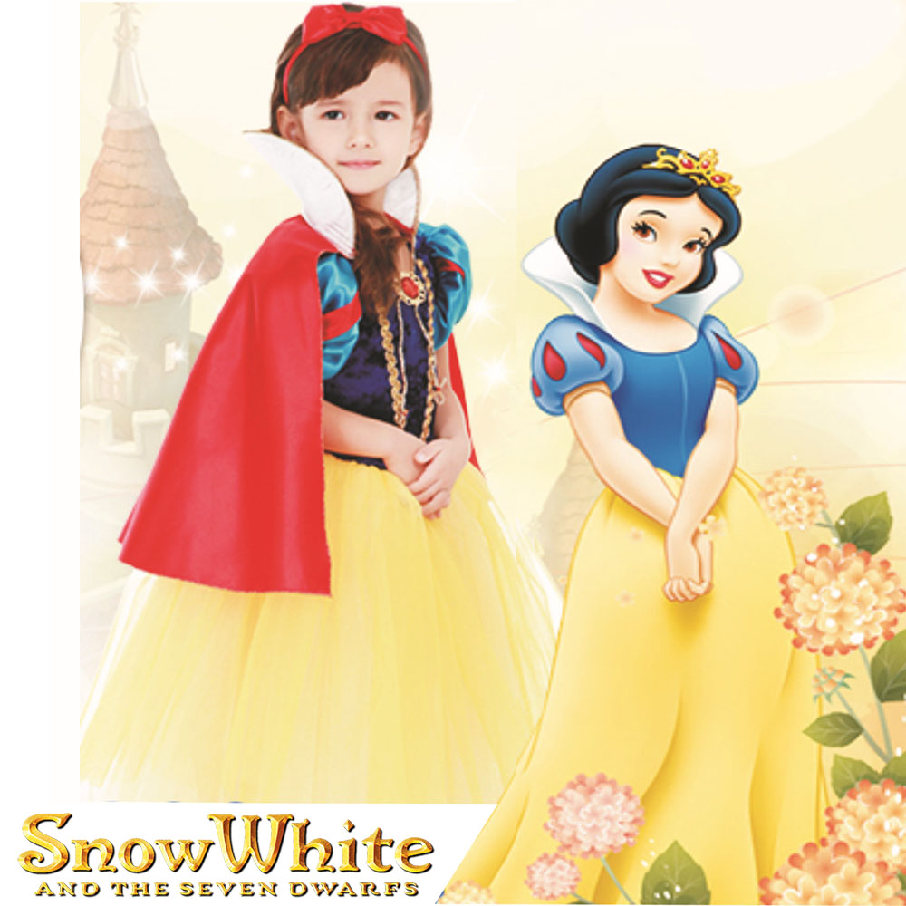 New Ladies Snow White Fairytale Long Fancy Dress Up Costume Storybook Princess