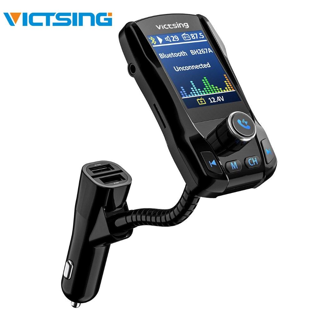 Victsing fm transmissor sem fio bluetooth handsfree 1.8 tela 5 v 2.1a 3 portas usb carregador bluetooth transmissor de rádio adaptador