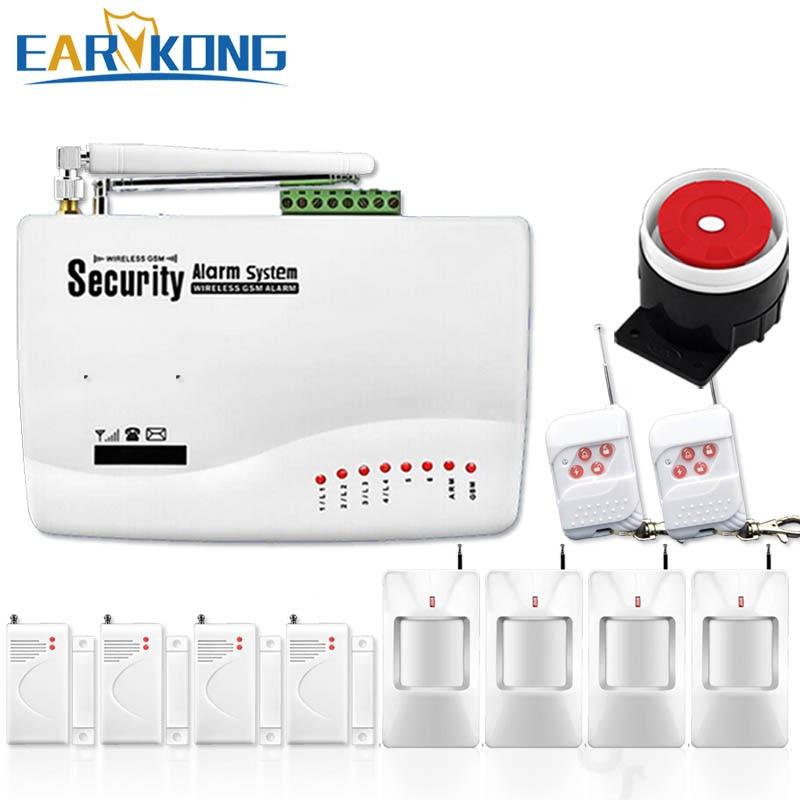 Бесплатная доставка Оптовая продажа 433 мГц беспроводной GSM домашняя охранная система с 4 PcsPIR + 4 шт. Магнитная двери