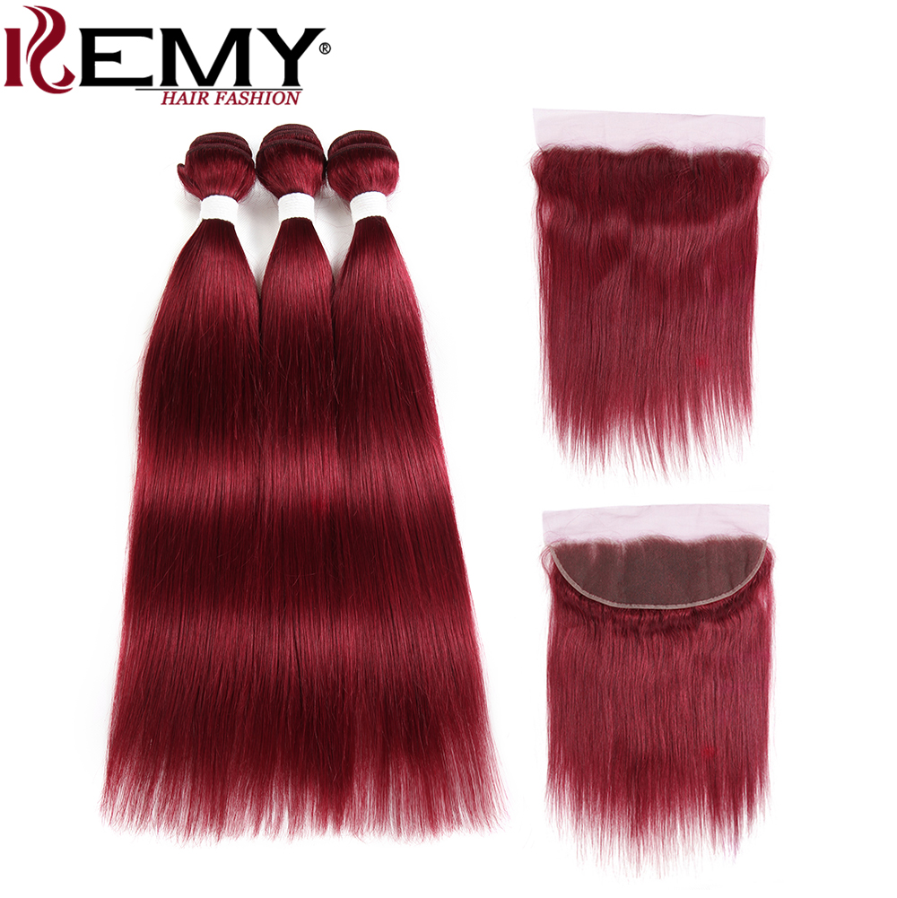 99J Burgundy Red Color Brazilian Straight Human Hair Bundles With Frontal 13 4 KEMY HAIR Pre