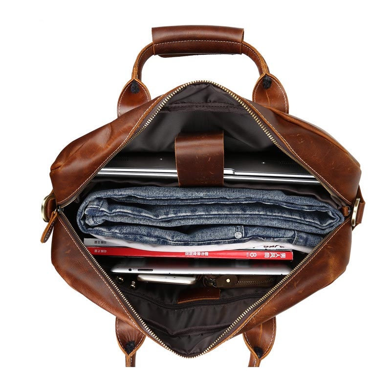 documents Main Véritable 15 Naturel Sacs D'affaires Niveau Vache Hommes Mode Marron Messenger Cuir De Porte Portable