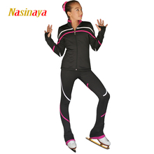 Customized Figure Skating Suits Jacket and Pants Long Trousers for Girl Women Training Patinaje Ice Skating Warm Gymnastics 14