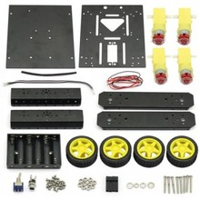 DIY KIT 4WD Chassis Aluminum Mobile Robot Platform For Robot Arduino Raspberry Pi *Black*