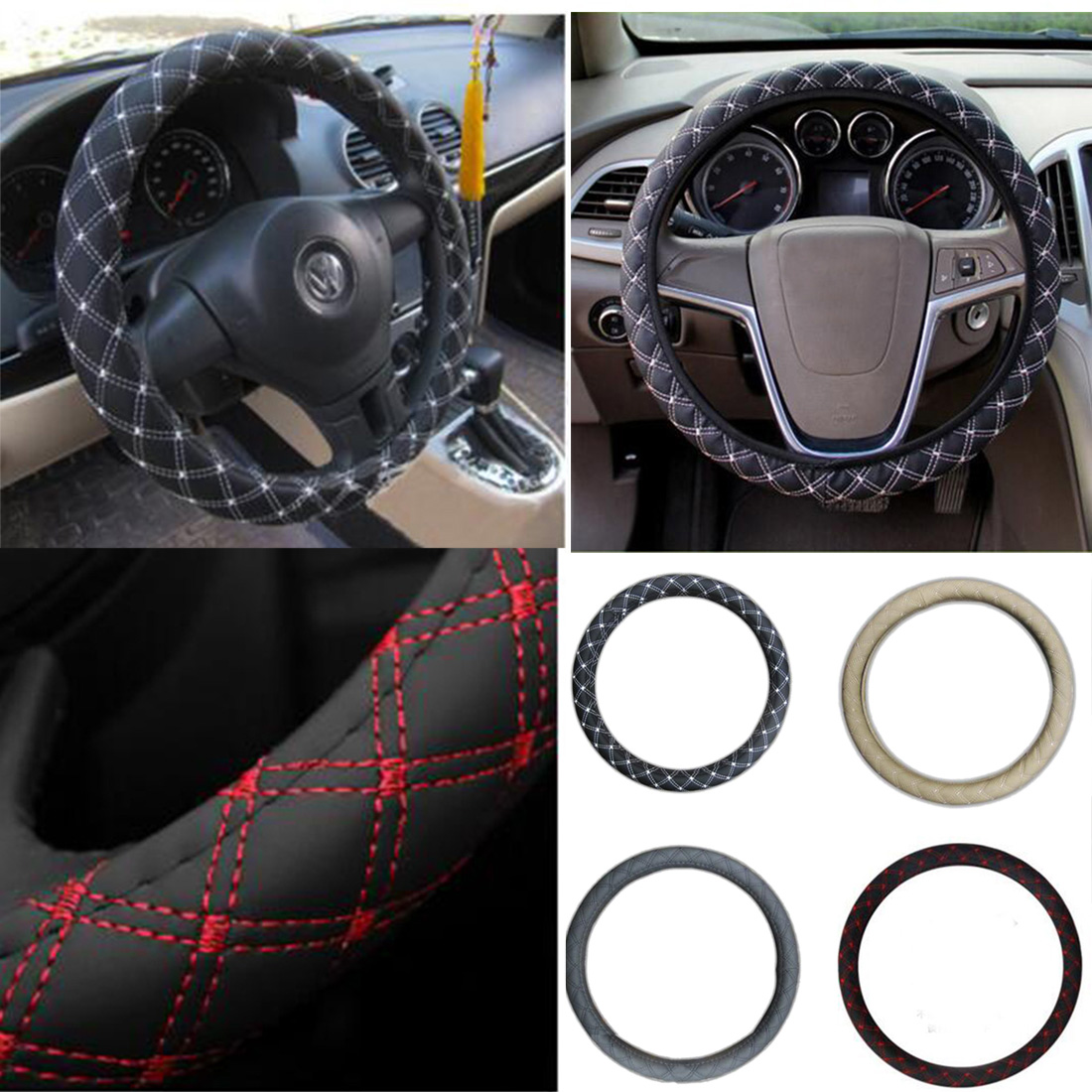 CAR-partment car styling DIY Plush Car Steering Wheel Cover black gray beige brown yellow, steering wheel hubs, fur wheel cover
