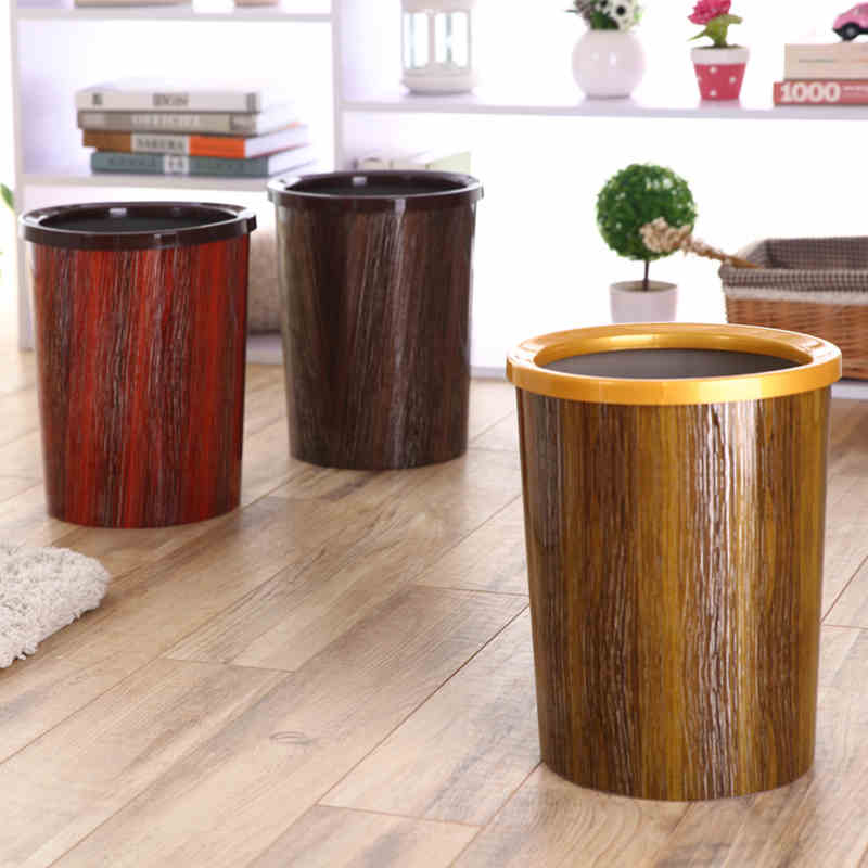 Creative Simulation Wood Waste Bin Living Room Kitchen Plastic Trash Can Home Office Paper Basket