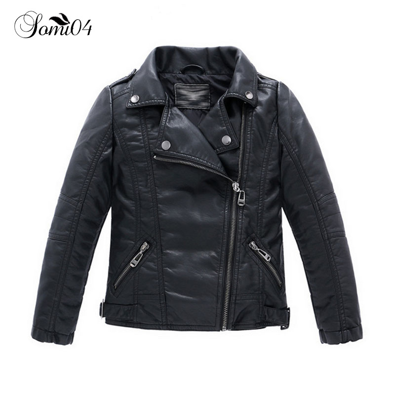 Teenager Baby Boys Girls Cool PU Leather Jacket Autumn Casual Black Solid Children Outerwear Kids Coats Spring Jackets 2018 New
