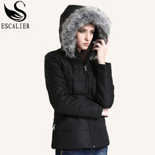 ESCALIER 2016 New Winter Down Parkas Women Fashion Coat Solid Color Cotton Casual Winter fur Parker Free Shipping