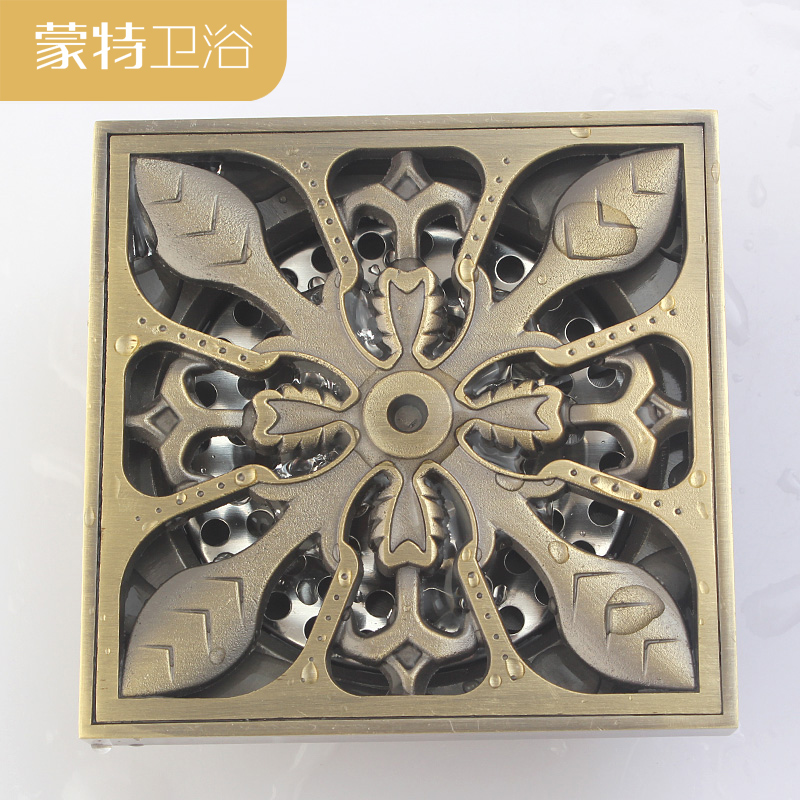Antique copper odor proof floor drain, square thickening stainless steel filter screen, new classical design.