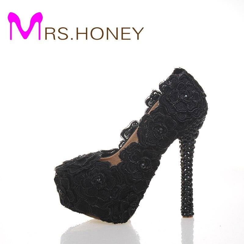 4d722f6b7 Black Lace Evening Dress Shoes Womens Rose Flower Wedding Shoes Black Lace  High Heel Shoes Cocktail