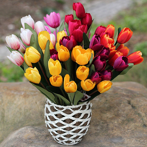 NEW 1 Bouquet 9 Heads Fake Tulip Artificial Silk Flower Home Office Wedding Decor