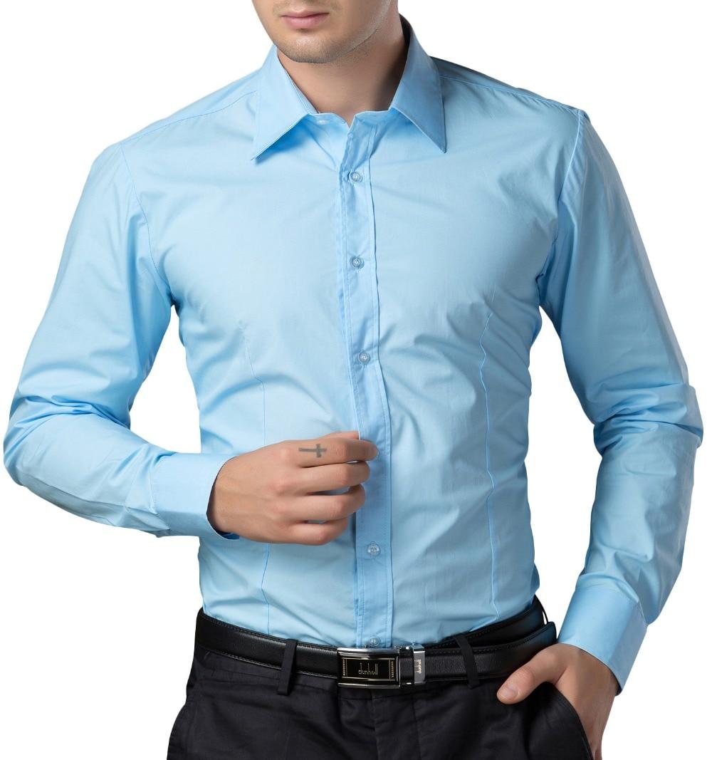 Men Dress Shirts Fashion Brand Mens Clothing Camisa Masculina Long Sleeve Slim Fit Solid Mens Shirts Social Business Big Size
