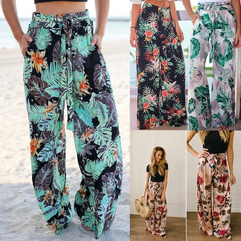 Women Bohemian Green Palm Leaf Print   Wide     Leg     Pants   Fashion High Waist Beach Boho Trousers Sashes Summer Loose   Pants
