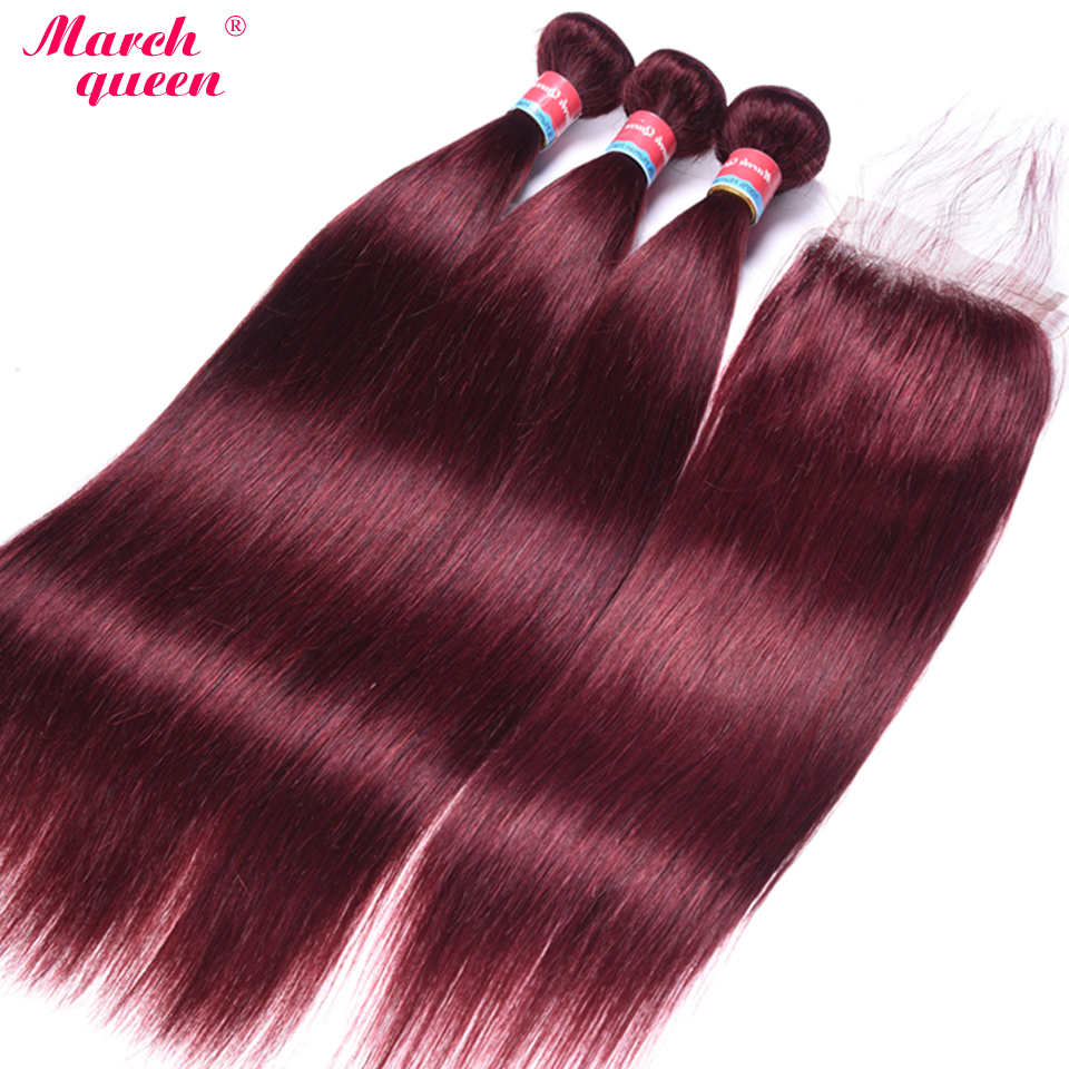 March Queen Pre Colored 99J Vietnamese Straight Hair 3 Bundles With Closure Red Wine Human Hair