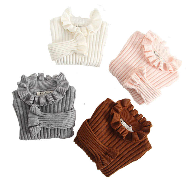 Baby Girls Sweaters Solid Ruffles Kids Basic Sweater Spring Autumn Turtleneck Infant Knitted Pullovers Tops RT045