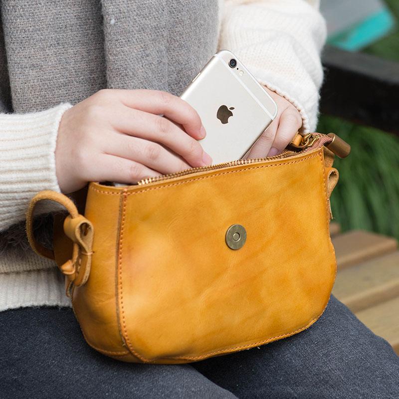 Image 4 - AETOO Original design handbags handmade leather casual Messenger  bag Sen series literary retro leather mini saddle bagTop-Handle Bags
