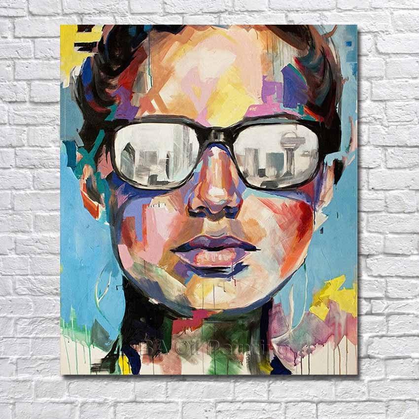 Pintado a mano abstracta arte pintura al óleo del retrato de Dallas ...
