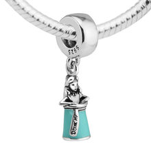 Real 925 Sterling Silver Beads Alice in a Bottle Dangle Charm Fit Brand Bracelet Jewelry Charm Beads for Jewelry Making FL346(China)