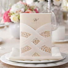 Vertical Laser Cut Wedding Invitation with White Hollow Flora For Marriage Party Supplies,50Pcs/Lot, Free Customizable CW060