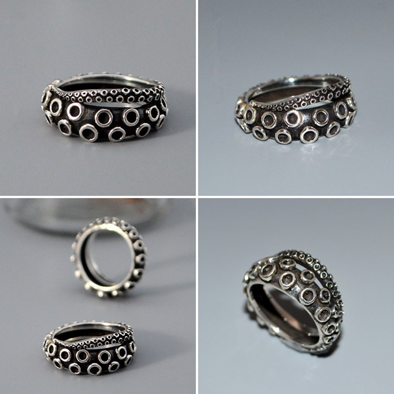 ancient silver Octopus font b ring b font Handmade retro animal font b ring b font
