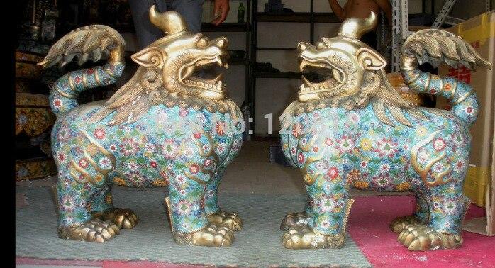 China Regius 100% bronce cloisonne guardián malvado Foo perro León unicornio kylin par estatua