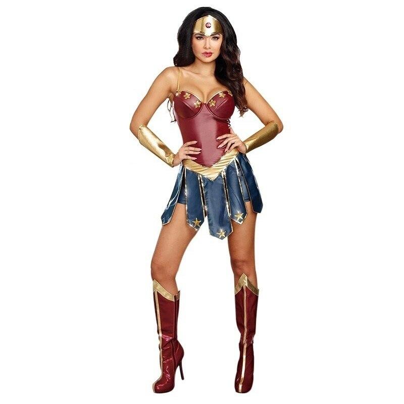 Women Dawn Of Justice DC Superhero Wonder Woman Carnival Halloween Adult Costume Faux Leather Girls Princess Diana Dressing-Up