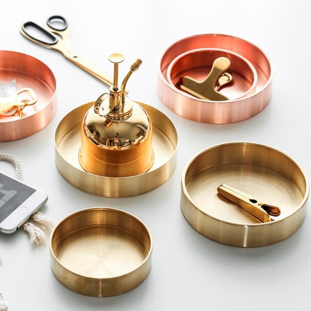 Nórdico estilo chic metal cobre puro latón redondo oval almacenamiento/bandeja de té oro ins popular producto decoración orname
