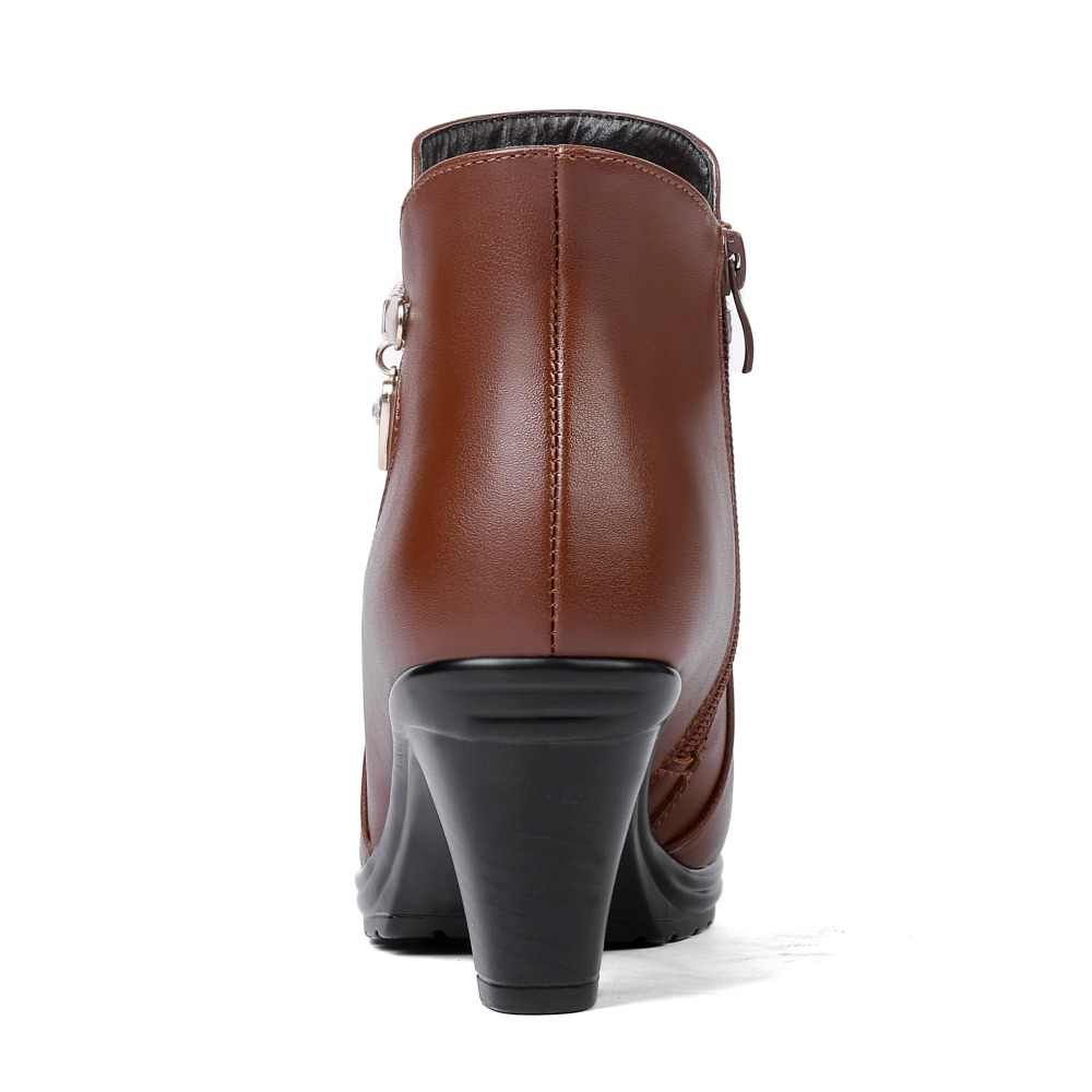 GKTINOO 2019 Yeni Zarif Moda Kışlık Botlar Artı Kadife Ayak Bileği çizmeler kadın ayakkabıları Sıcak Yüksek Topuk Deri Kar Botları Artı Boyutu