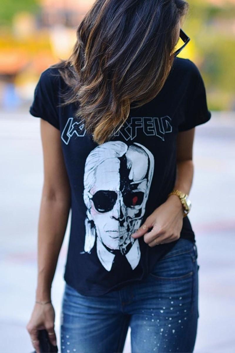 HTB11us3MXXXXXa1XpXXq6xXFXXXN - New Skeleton Head Printed Tee In Black Zombie Skull Punk Rock