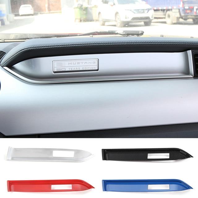 MOPAI Innenraum Form Copilot Sitz Dashboard Dekoration Streifen Trim ABS Aufkleber Für Ford Mustang 2015 Up Auto Styling